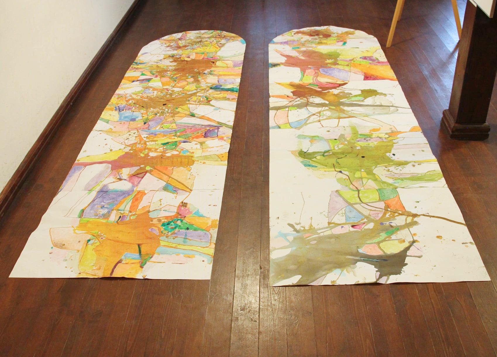 """Alexzander-Fraj-Pieniek-""""Dekalog-Drzewa""""-papier-akryl-olej-anilina-320x100cm"""