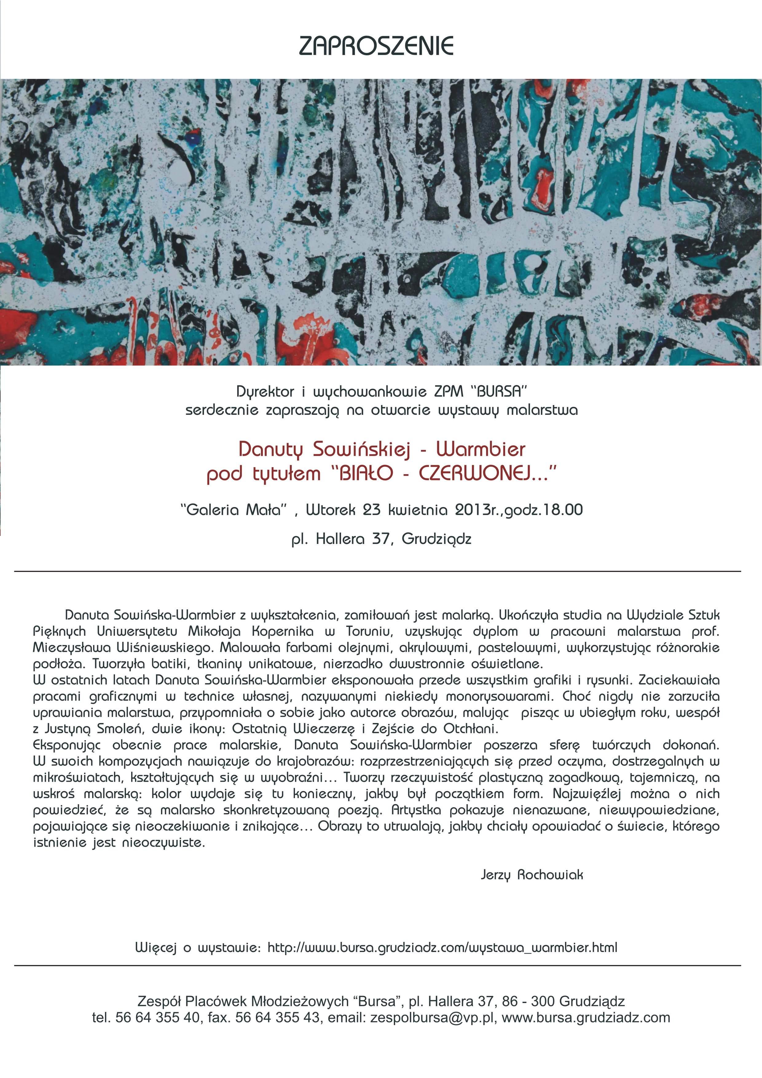 zaproszenie Danuta Sowinska Warmbier Grudziadz